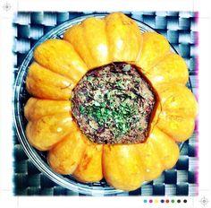 Receita de Abóbora moranga recheada com carne seca feita no micro-ondas.