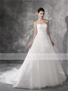 Strapless Beaded Sweetheart Lace Applique Belt Ruffles Ball Gown