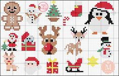 Easy Cross Stitch Patterns, Xmas Cross Stitch, Simple Cross Stitch, Cross Stitch Cards, Cross Stitch Designs, Cross Stitching, Cross Stitch Embroidery, Mini Christmas Ornaments, Christmas Perler Beads