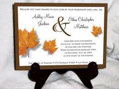 100 Fall Leaf Wedding Invitations RSVP's by creatingapapermemory, $125.00