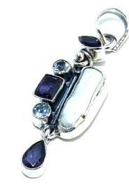 Beautiful item with Biwa Pearl, Amethyst Faceted, Blue Topaz Gemstone(s) set in pure 925 sterling silver.