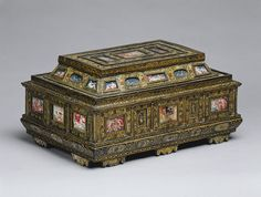 Casket (cofanetto or scrigno), ca. 1575–1600  Venice  Beech wood, painted and decorated ebony with encrustations of mother-of-pearl; gilded ivory, and gouache miniatures on parchment under glass; later textile-lining