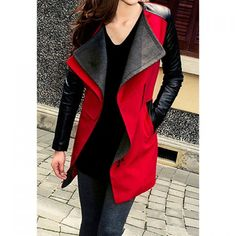 Lady Long Warm Leather Sleeve Jacket Coat Trench, RED, XL in Jackets & Coats | DressLily.com