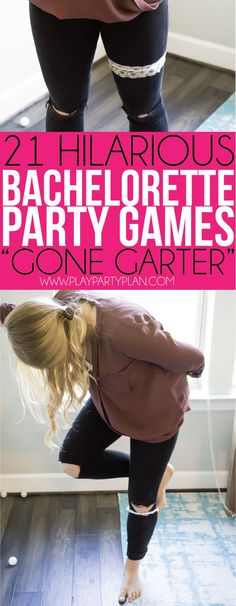 Hilarious bachelorette party game ideas. This gone garter game is one of the most hilarious bachelorette party games out there #wedding #bride #bridalparty #bacheloretteparty