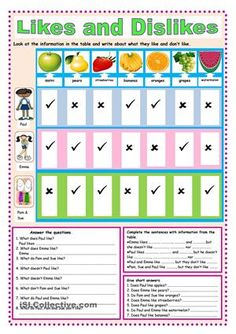 Likes Or Dislikes Worksheet  Free Esl Printable Worksheets Made