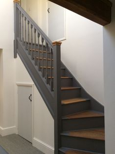 Second Floor Staircase. Little Greene Paint – Dark Lead Eggshell. Stair edge and… Second Floor Staircase. Little Greene Paint – Dark Lead Eggshell. Stair edge and skirting: Dark Lead Floor Paint. House Staircase, Staircase Remodel, Staircase Makeover, Staircase Design, Dark Staircase, Railing Design, Painted Staircases, Painted Stairs, Wooden Stairs