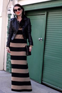 striped maxi, fitted leather jacket, sleek side parted hair & stunner shades <3