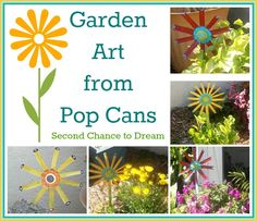 Second Chance To Dream - Recycle Project: Pop Cans turned Garden Art The desi. Second Chance To Dr Aluminum Can Crafts, Tin Can Crafts, Aluminum Cans, Easy Crafts, Garden Crafts, Garden Projects, Wood Projects, Garden Ideas, Garden Fun