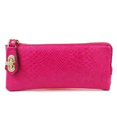 Amazon.com: New Arrival Unique Design Turn Lock Embellishment Snake Crocodile Embossed Faux Leather Wallet in Fuchsia Hot Pink: Clothing $23.99