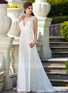 A-Line/Princess V-neck Court Train Chiffon Charmeuse Wedding Dress With Ruffle Lace Beading (008024572)