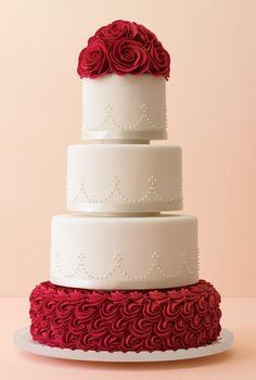 Mark Joseph red rose wedding cake
