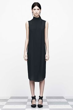 Black dress with clean lines & wrap over detail - minimal fashion; understated style // T by Alexander Wang