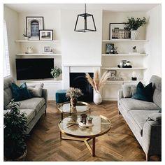Alcove Ideas Living Room, Small Space Living Room, Boho Living Room, Living Room With Fireplace, Living Room Grey, Living Room With Color, Dark Wooden Floor Living Room, Living Room Shelving, Living Room Decor Ideas Grey