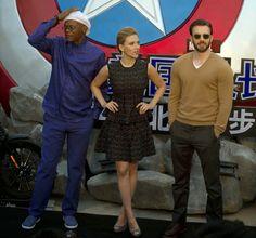 Scarlett Johansson conceals baby bump in an Antonio Berardi peplum dress at the 'Captain America: The Winter Soldier' Beijing Premiere