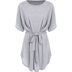 Short Sleeve Self-Tie Dolman Dress (17 LYD) ❤ liked on Polyvore featuring dresses, grey, romwe, stretch dresses, short-sleeve maxi dresses, sleeved dresses, knee length shift dress and knee length dresses