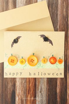 Halloween Button Card. Create a quick Halloween pumpkin and bat card using supplies you may already have on hand - buttons, washi tape, stamps and markers.