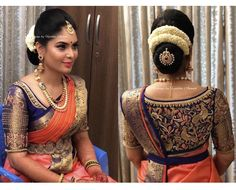 Exclusive wedding saree blouse designs are in-trend these days, here I have complied few of the unique blouse designs for wedding saree. Wedding Saree Blouse Designs, Pattu Saree Blouse Designs, Blouse Designs Silk, Designer Blouse Patterns, Wedding Sarees, Lehenga Designs, Party Looks, Sari Bluse, Looks Instagram