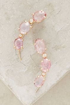 One-of-a-Kind Pink Sapphire and Diamond Orion Climbers in 14k Gold