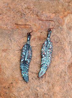 Cowgirl Bling TURQUOISE COPPER  FEATHER EARRINGS Gypsy Tribal Southwest #Unbranded #dangleearringspierced