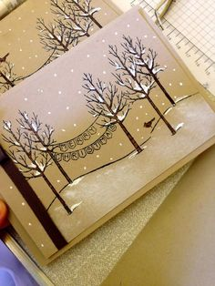 Stampin' Up! White Christmas - UK Independent Stampin' Up! Demonstrator - Julie Kettlewell: World Card Making Day!Christmas-Winter-Stampin' Up! handmade card by Julie Kettlewell: White Christmas . photo turorial shows how she created the snowy scene Homemade Christmas Cards, Christmas Cards To Make, Homemade Cards, Handmade Christmas, Holiday Cards, Christmas Crafts, Xmas Cards Handmade, Tarjetas Stampin Up, Stampin Up Cards