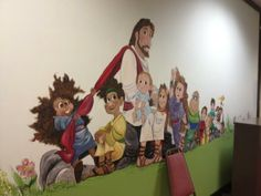 One of the Jesus themed murals in the children's area at Landmark Church, Montgomery, AL