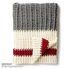 Chunky Crochet Blankets Take the classic work sock pattern and make it huge! Now you can make this classic grey, white and red pattern in blanket form. Crochet it in Bernat Softee Chunky and throw it on your bed. Crochet Afghans, Striped Crochet Blanket, Easy Crochet Blanket, Crochet Cable, Crochet For Beginners Blanket, Manta Crochet, Crochet Socks, Chunky Crochet, Crochet Home
