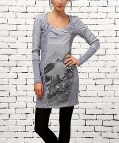 Love this Gray Gathered Neck Dress by Angels Never Die on #zulily! #zulilyfinds