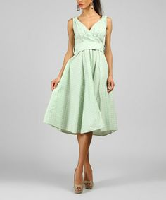 Another great find on #zulily! Dust Green Polka Dot V-Neck Dress by Kushi by Jasko #zulilyfinds  simple and cute. ready for summer!