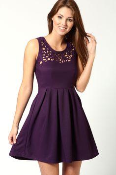 Esther Laser Cut Detail Fit + Flare Dress
