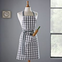 Gingham Apron - Bold Print #WestElm  not a place i want to store scissors and a rolling pin...but I get it big pocket