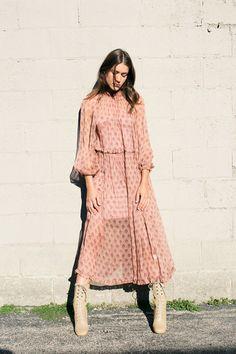 Zimmermann SALE 40% OFF- Karmic Stamp Ruffle Dress Pale Pink Silk | BONA DRAG