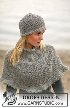 DROPS Poncho and hat with berry pattern ~ DROPS Design - free by shelby