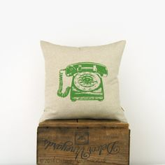 18x18 inches decorative throw pillow cover with rotary phone in fresh foliage green and natural beige - Reversible geometric pattern back