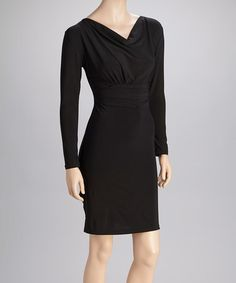 Take a look at this Black Drape Neck Dress by Avital on #zulily today!