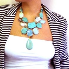 This turquoise statement necklace is amazing. Must. Have. This. Now.