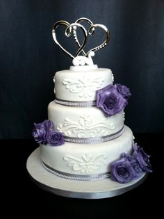 fondant wedding cake decorating ideas | tier cake covered in fondant and decorated with gumpaste roses