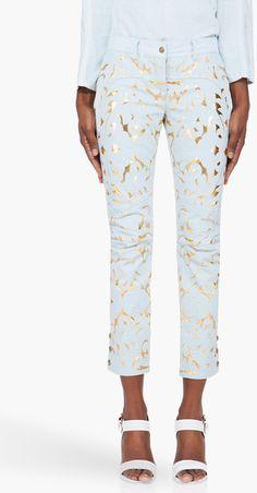 BALMAIN en cuir bleu pâle en relief pantalon...!!!