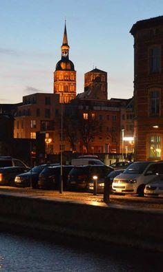 Stralsund, abends am Hafen