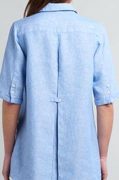 Linen Curved Seam Shirt Sleeves Blouse Linen shirt collar blouse by Ann G Linen Linen Dress Pattern, Tunic Sewing Patterns, Linen Tunic Dress, Linen Blouse, Linen Shirts, Linen Dresses, Blouse Outfit, Collar Blouse, Collar Shirts