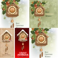 Christmas greeting cards with mistletoe, Bullfinch and New Year clock vector