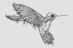 Vector graphic image of beautiful and fast flying bird in ornamental and freehand linear style. Bird Illustration, Illustrations, Hummingbird Tattoo, Black Tattoos, Sleeve Tattoos, Embroidery, Black And White, Creative, Pictures