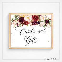 Cards & Gifts printable sign for weddings, showers & other events!  This is an Instant Download Digital Item. You will not receive a physical item. --------------------------------------------------------------------  ♥ This listing is an INSTANT digital download item and does not include any color, font, size or graphic changes. Please convo for any design changes or additional numbers; they may be available for an additional fee. Get in touch & Ill set up a reserved listing.  Yo...