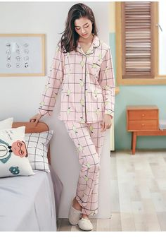 Anzhiban 2017 Autumn Women Pajamas Sets Suit Cotton Long-Sleeved Female  Sleepwear Casual Home Nightgown Fashion Plaid Pyjamas 2e1b96187