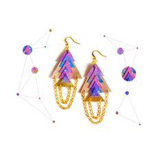 Galaxy Leather Earrings Dangle Earrings by BooandBooFactory