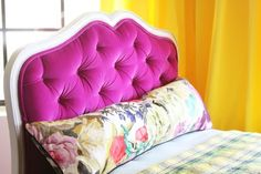 Remember this cute little magenta velvet headboard I made for the girls' room when we lived in the loft? I finally got around to tufting th...