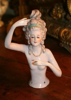 BEAUTIFUL LARGE OLD ANTIQUE PORCELAINE LADY HALF DOLL 19th DRESSEL BOUDOIR DOLL #2ndEmpire
