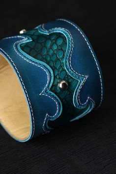 Leather Cuff Leather Bracelet Turquoise Cuff by EthosCustomBrands