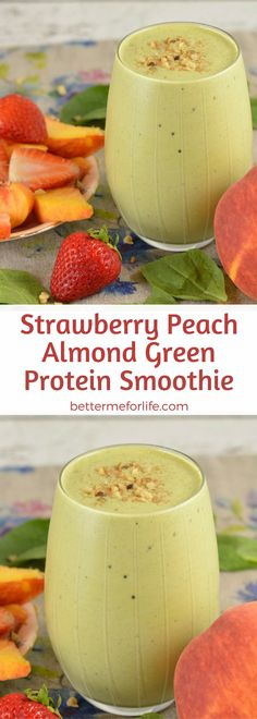 Are you looking for a delicious new green protein smoothie? This strawberry peach almond green protein smoothie will be one of your favorite go-to green protein smoothies. Recipe at BetterMeforLife.com | green protein smoothie recipes | healthy green protein smoothies | green protein smoothies for weight loss | green protein smoothie recipes weight loss | green protein smoothie recipes diet #greenproteinsmoothies #greenproteinsmoothierecipes #greenproteinsmoothie #green_protein_smoothie