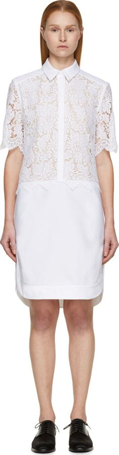Erdem: White Corded Lace Breeson Shirt Dress | SSENSE