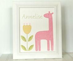 Nursery wall art, baby girl, giraffe art, custom made, personalized, 8 x 10 wall art collage. $24.00, via Etsy.